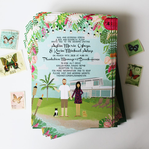 Custom Hawaii Wedding Invitations