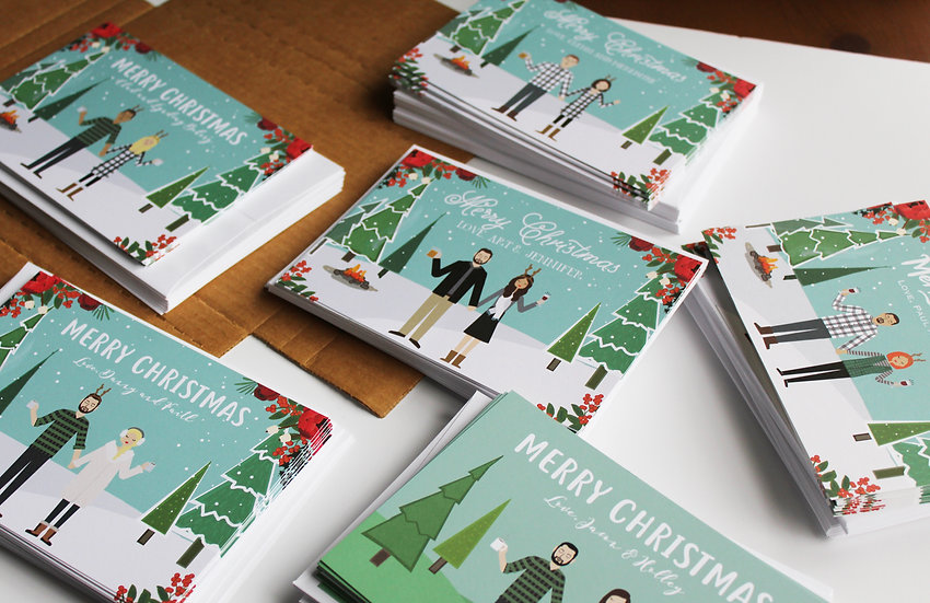 SEMI-CUSTOM CHRISTMAS CARDS, 10 PACK OF PRINTED CARDS