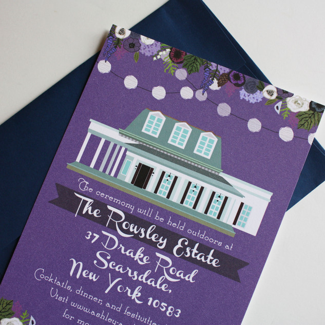 reception card for wedding invitations, custom wedding invite for a new york wedding at The Rowsley Estate
