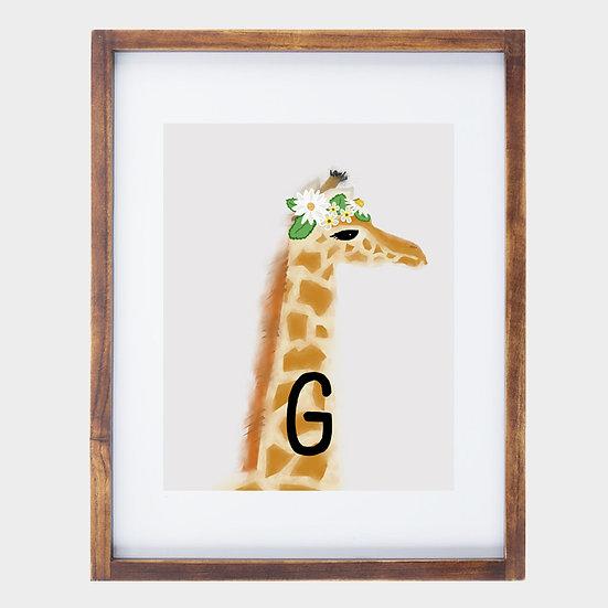 """""""G"""" GIRAFFE 8x10 PRINT (unframed)"""