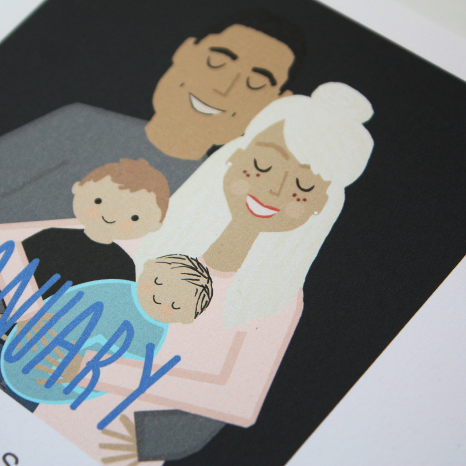 New baby announcmenet, custom family calendar, custom drawn family portraits with new baby