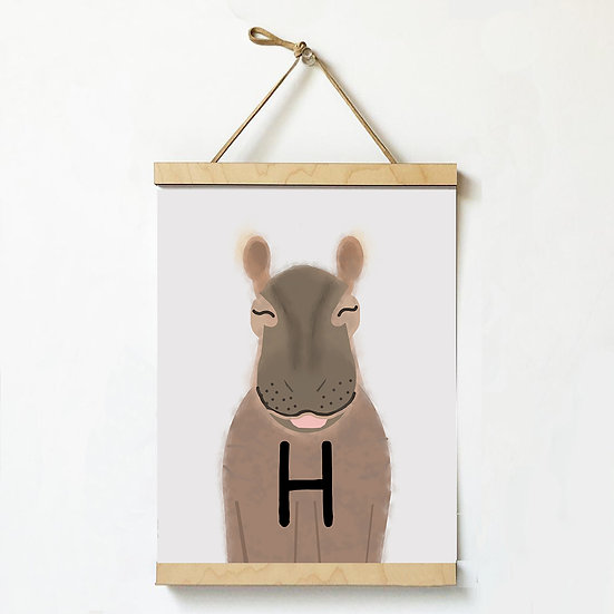 """H"" HIPPO 8x10 PRINT (unframed)"
