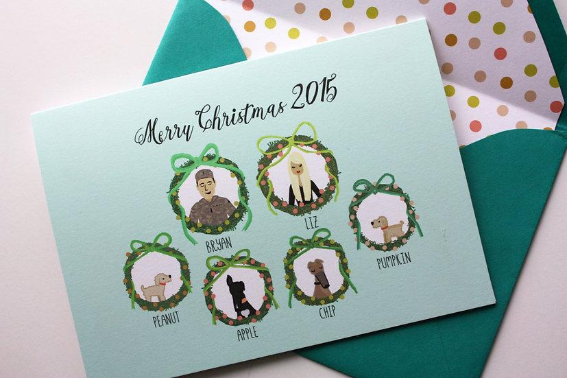 2020 Pre-Order- CHRISTMAS WREATH PORTRAITS (profiles) CHRISTMAS CARD DESIGN FEE