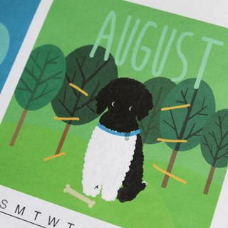custom 2020 family calendar, pet portrait, new pet announcement, new dog announcement, pet drawing, miniature poodle illustration