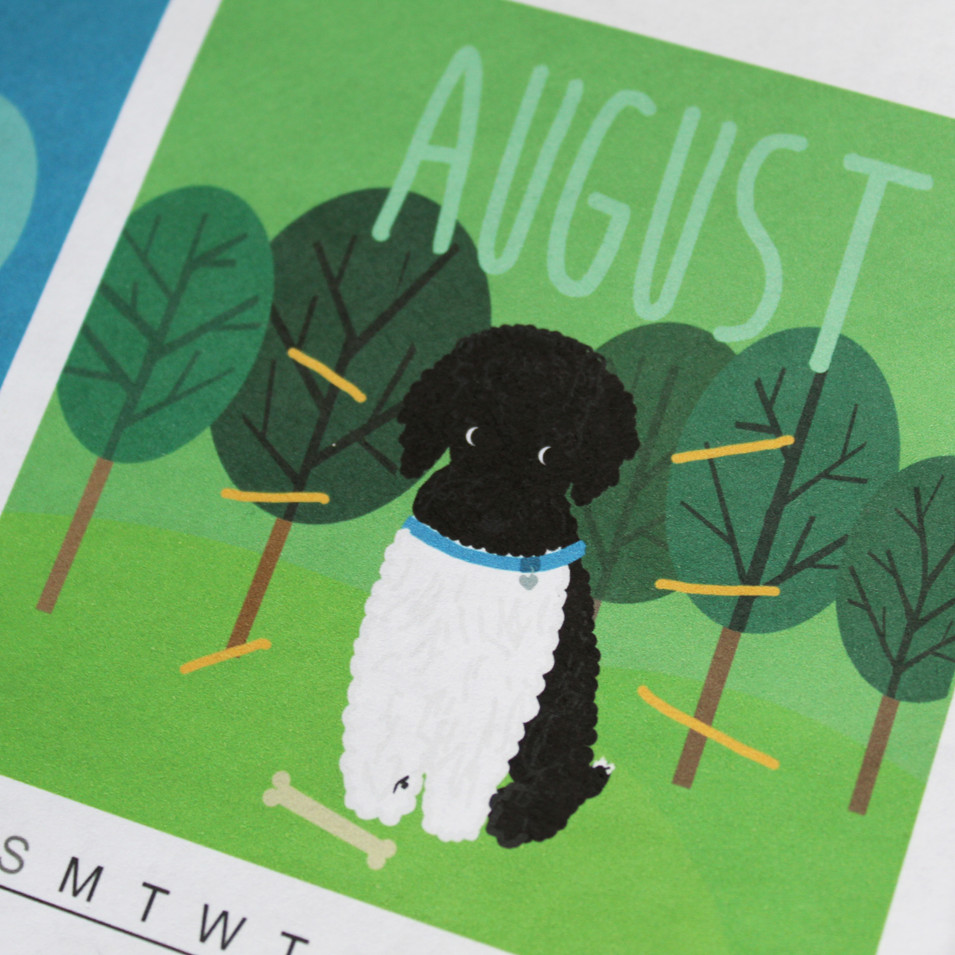 custom 2020 family calendar, pet portrait, new pet announcement, new dog announcement, pet drawing, miniature poodle illustration