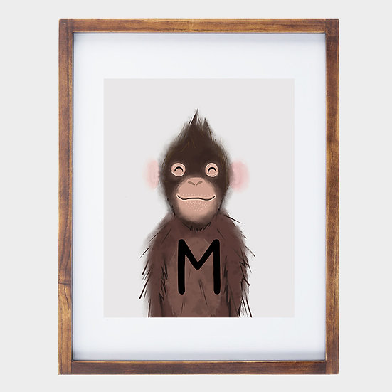 """M"" MONKEY 8x10 PRINT (unframed)"