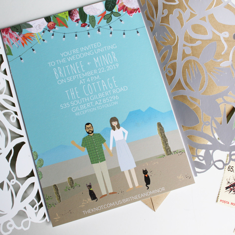 Custom Desert Wedding Invitations with Protea Flowers