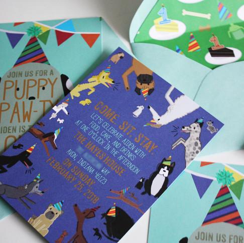 Puppy Pawty Birthday Invitations