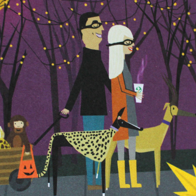 Custom family calendar, trick-or-treating illustration, greyhound portraits, pet portraits, coffee illustration