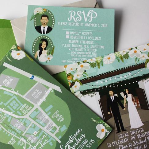 Custom Wedding Invitations with Portraits