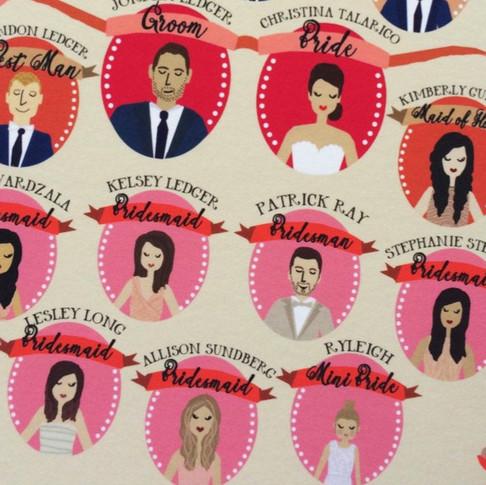 bridal party portraits programs, custom illustrated bridal party, custom programs