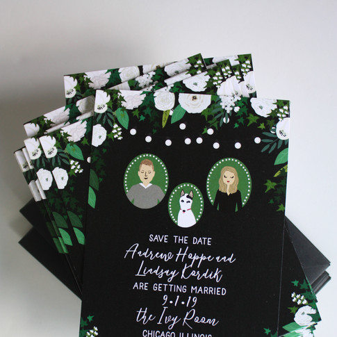 Custom Save the Date portraits with custom dog illustration, black and white wedding, wedding illustrations