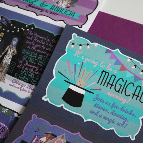 magical wedding invitation, magic show at wedding, unique wedding invitations, custom illustrated wedding invites, Chicago wedding, winter wedding illustrations