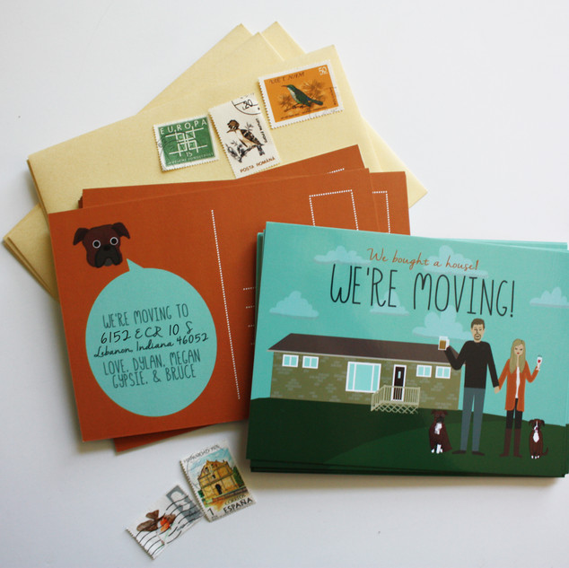 Custom Illustrated Moving Postcards, with Custom House Illustration and Boxers