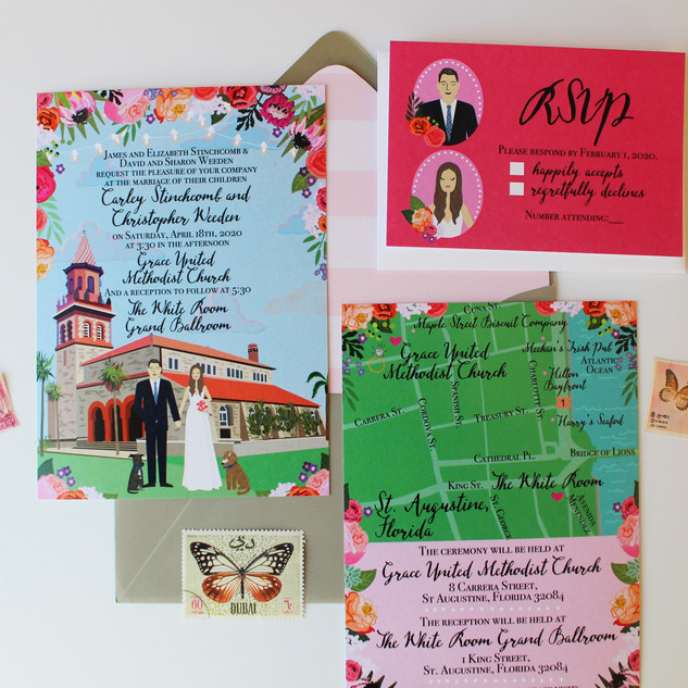 Custom Wedding Invitations with Portraits