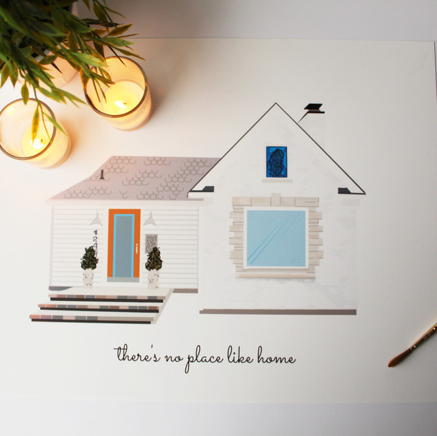 Custom House Portrait, Modern Farmhouse