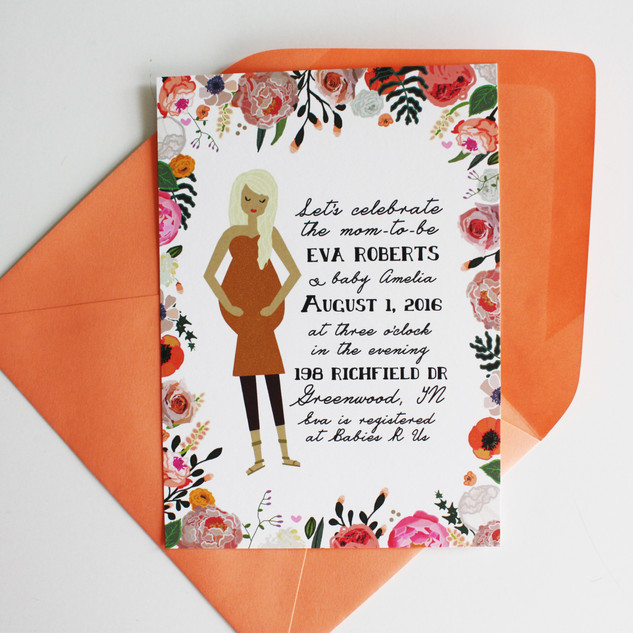 Custom Illustrated Baby Shower Invitations with Baby Bump + Mama Portrait