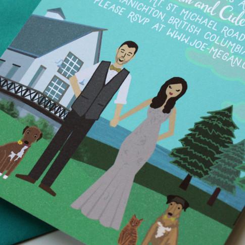 Custom Illustrated Wedding Invitation with Dogs, Barn Wedding