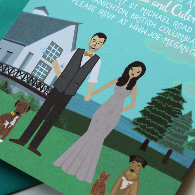 Custom Illustrated Wedding Invitation with Dogs, Barn Wedding