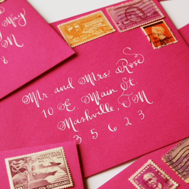 Handwritted Calligraphy on Wedding Envelopes