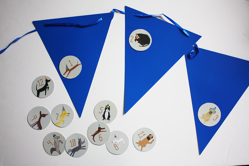 PUPPY PAW-TY BUNTING BANNER  ROUND LABELS (month 1-12)