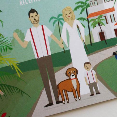 Aurora Culpo wedding, celebrity wedding invitation, mexico wedding invitaitons, custom portraiture, baby Remi and Woogie illustrations