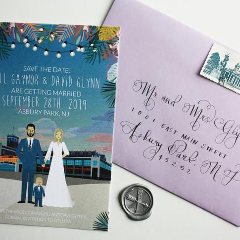 Custom Illustrated Wedding Invitation with Child