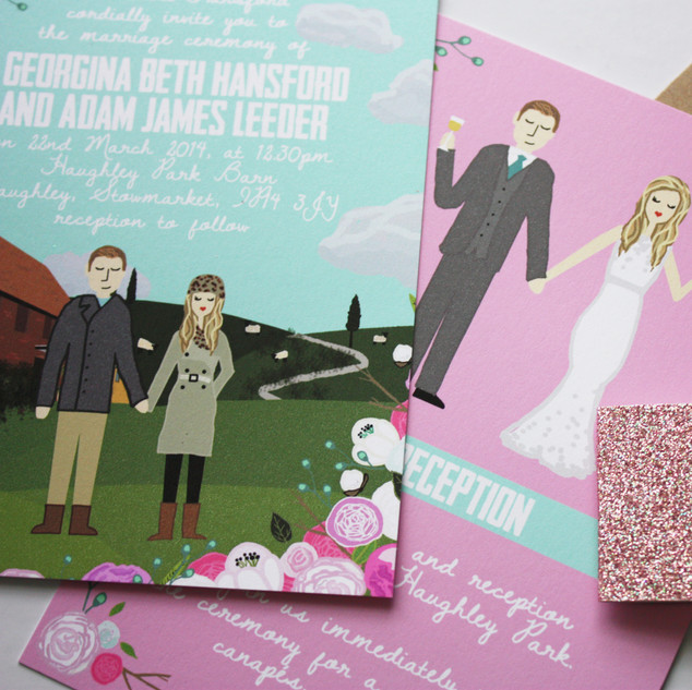 custom illustrated wedding invitations, Ireland wedding invitation, sheep in field wedding, custom drawn portraiture