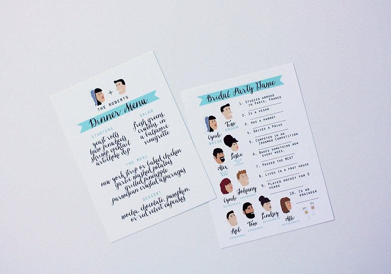 BRIDAL PARTY GAME MENUS OR PROGRAMS DESIGN FEE