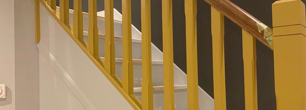 Painted Staircase, yellow & grey combo