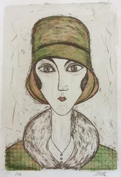 Dame au chapeau vert (38x28cm)