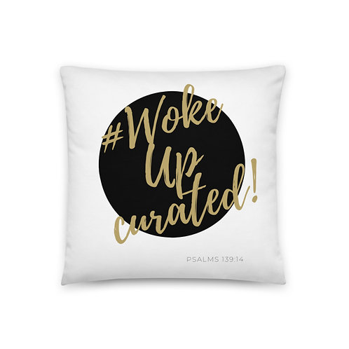 #WokeUpCurated (Black & Gold) Pillow