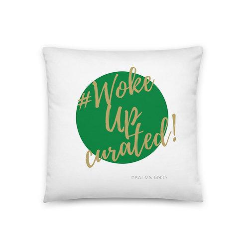 #WokeUpCurated (Green & Gold) Pillow