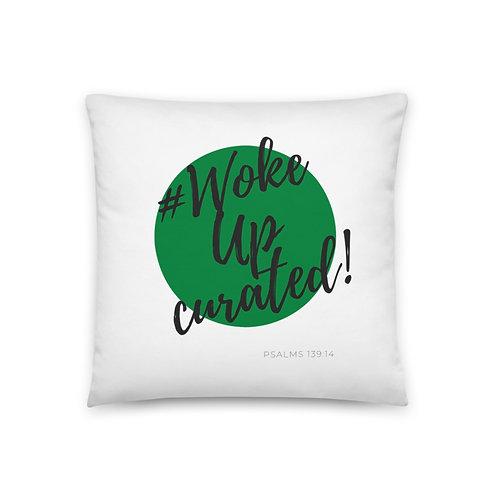 #WokeUpCurated (Green & Black) Pillow