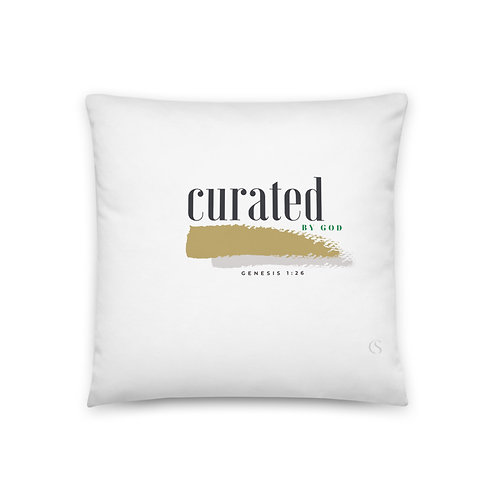 Curated by God (green-text) Pillow