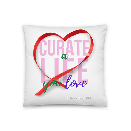 Curate a Life you Love (pink text) Pillow