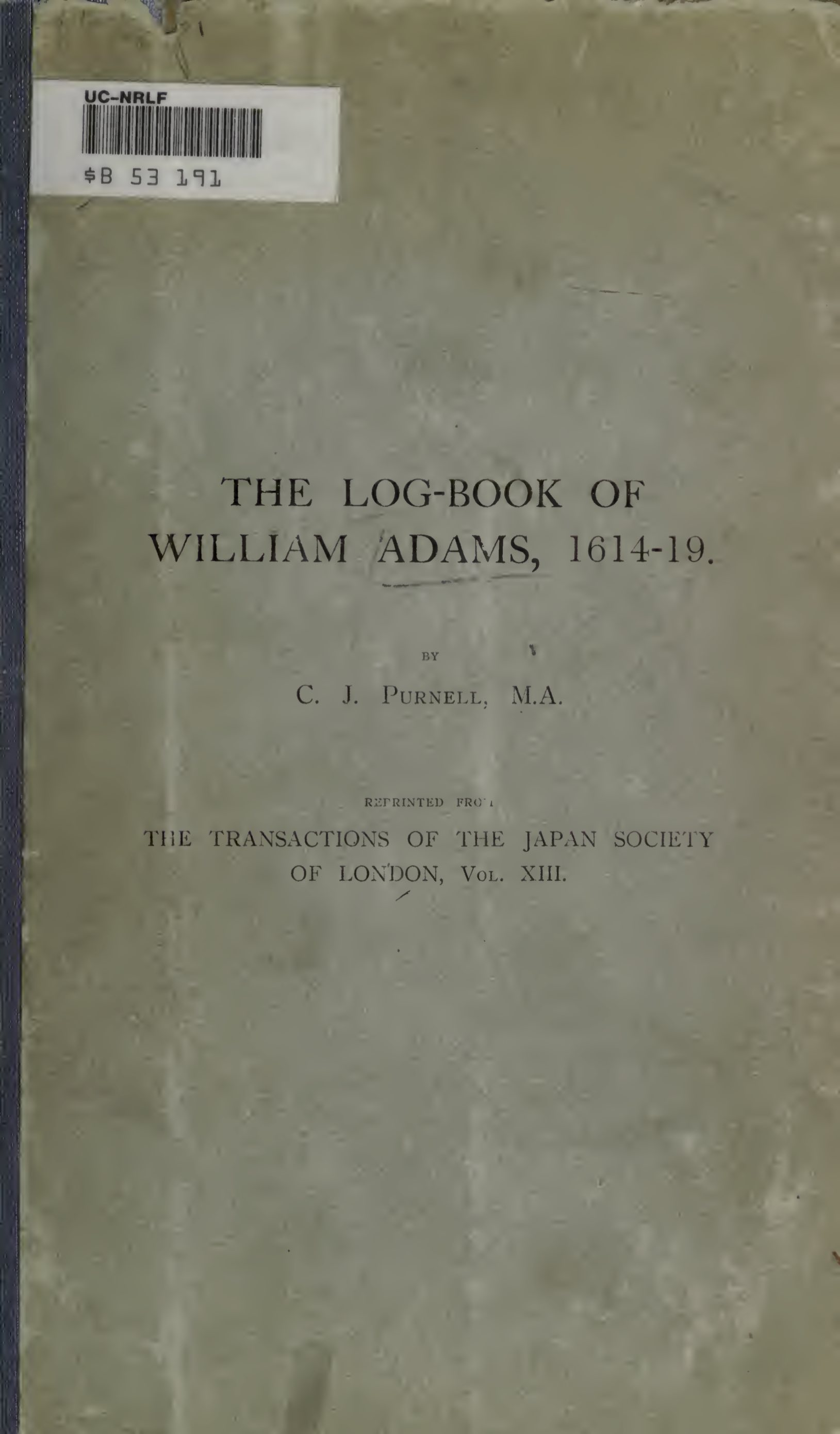 The Log-Book of William Adams