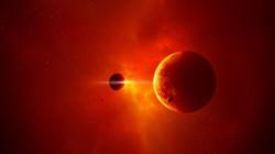 1 planet satellites star light space
