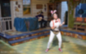 Kaylie Ann Delauri as The White Hare in Good Idea Bears' production of 'Alice in Wonderland'
