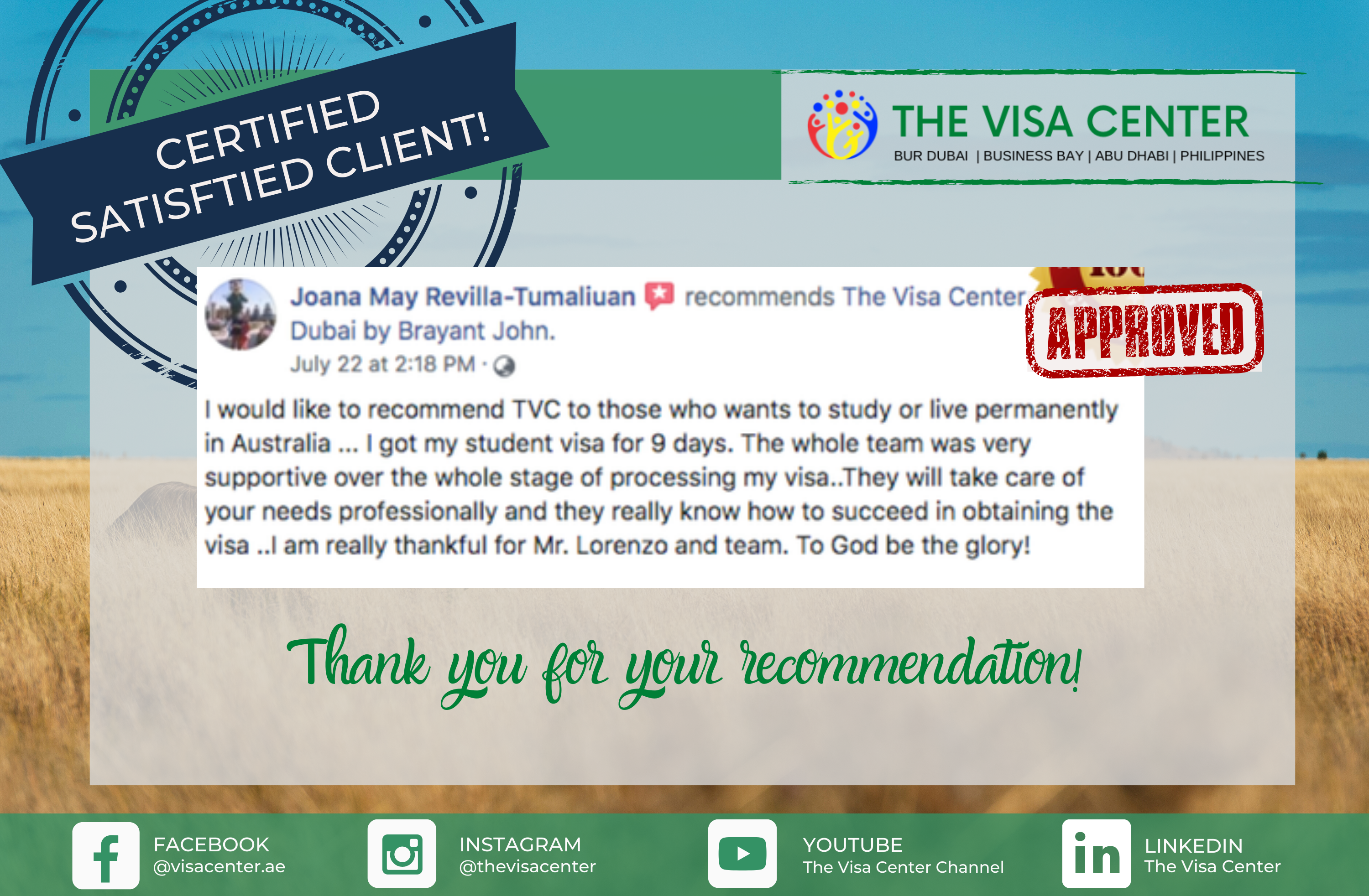 Certified satisfied client!