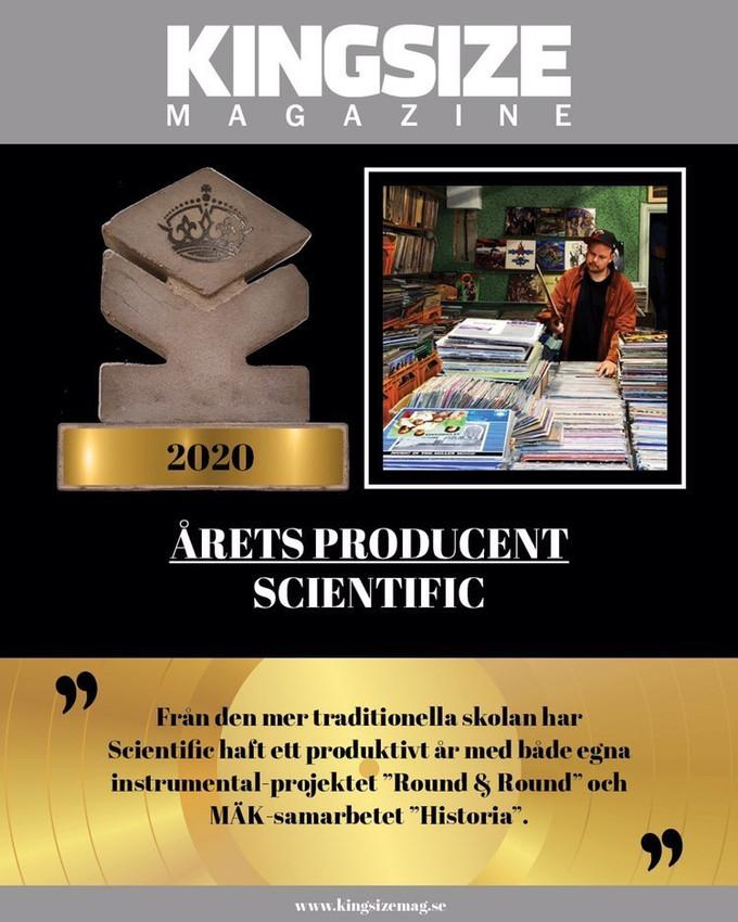 Awarded producer of the year by kingsize magazine 2020!