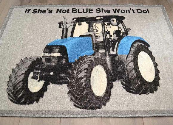 Blue tractor mat