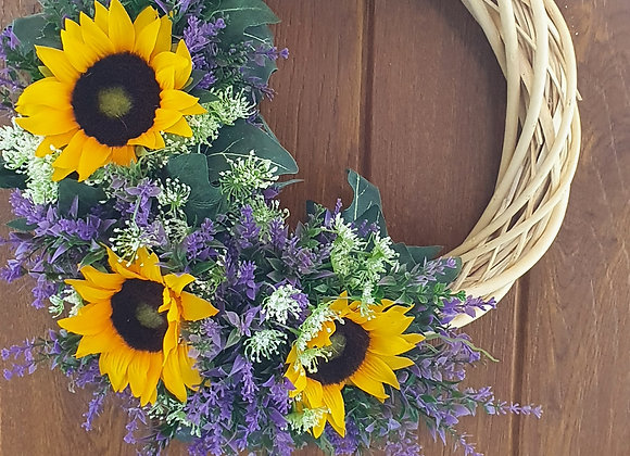 Lavender and sunflower artifical wreath