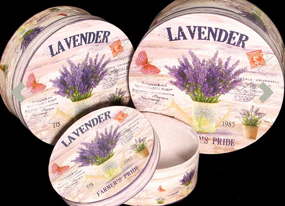 Lavender hat boxes x 3