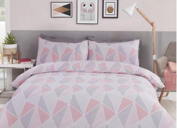 Pink/grey/white geometric design duvet cover