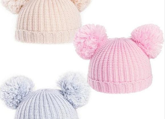 Double baby soft pom pom hat