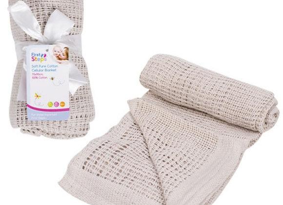Grey cotton cellular blanket