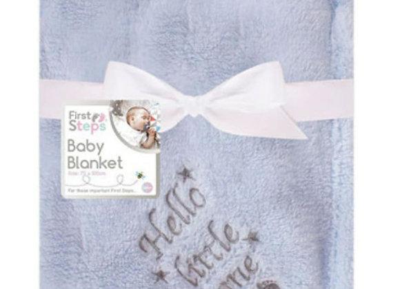 Hello little one blue blanket
