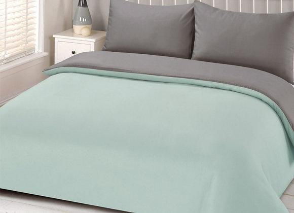 Simple block colour mint/grey duvet cover set