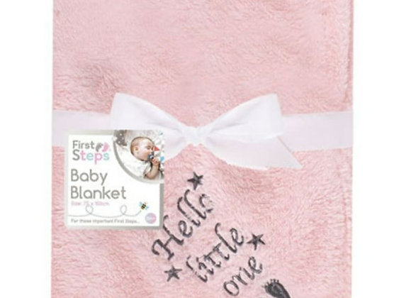 Hello little one pink blanket